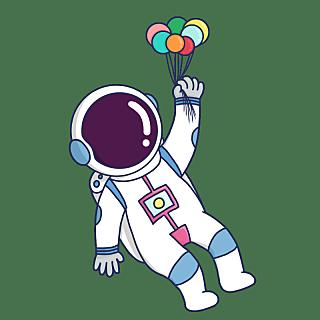 手绘风-人物插画-宇航员