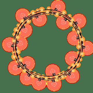 手绘-气氛灯串元素-圆形