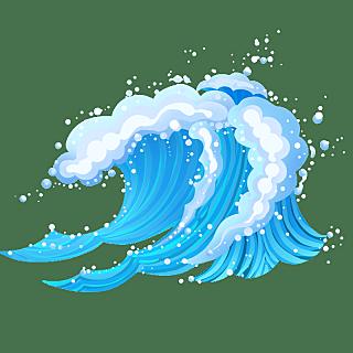 手绘肌理-氛围元素贴纸-海浪