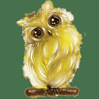 手绘-水彩动物贴纸-猫头鹰