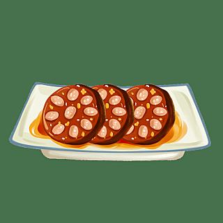 手绘-中秋节美食元素-桂花糯米藕