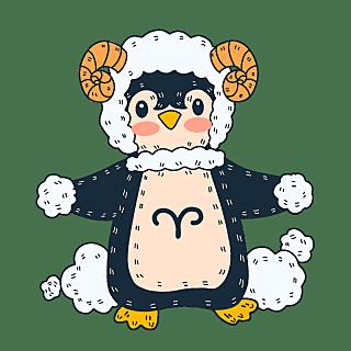 手绘-十二星座动物贴纸套系-白羊座