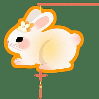 手绘-中秋节元素贴纸-兔子