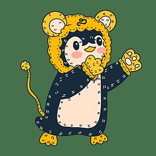 手绘-十二星座动物贴纸套系-狮子座