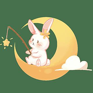手绘-中秋节元素-玉兔