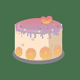 手绘-美式复古镭射贴纸-蛋糕