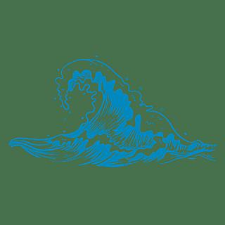 手绘-矢量风自然元素海浪贴纸5