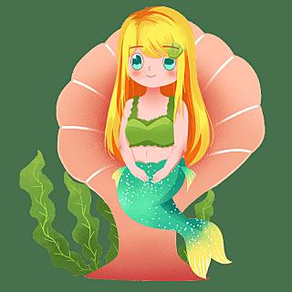 手绘-童话美人鱼元素人物插画1