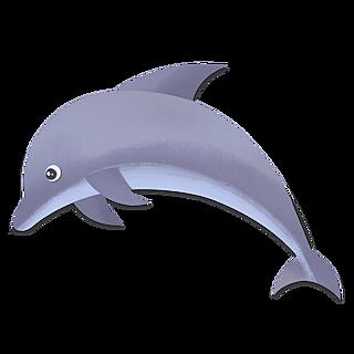 手绘-动物拼贴画元素-海豚