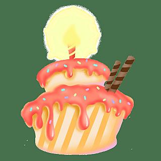 扁平-儿童生日摆件元素-蛋糕