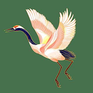 中国风-动物贴纸-仙鹤