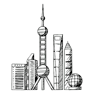 SVG-建筑元素素描贴纸-上海
