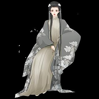 中国风人物形象元素贴纸长发姑娘.png