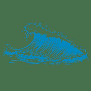 手绘-矢量风自然元素海浪贴纸2
