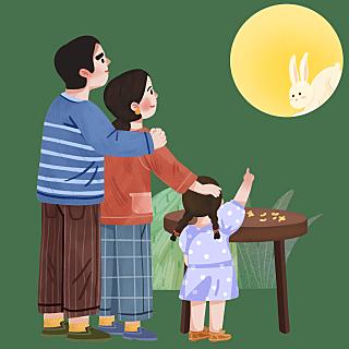 手绘-中秋节团圆人物场景插画2