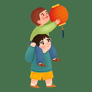 手绘风-中秋节贴纸-小孩