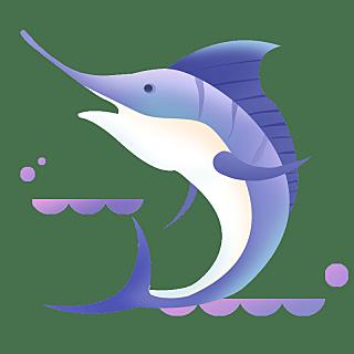 扁平-海洋日元素贴纸-剑鱼
