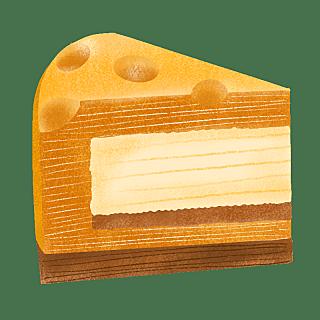 手绘-西方复古食物贴纸-起司蛋糕