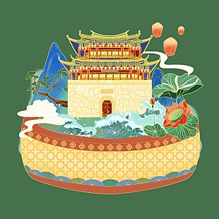 手绘-国潮风建筑