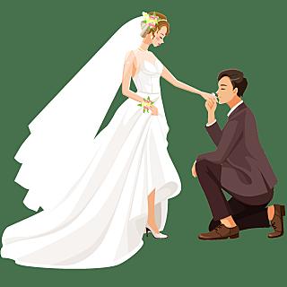 手绘-婚礼亲吻元素贴纸-亲吻