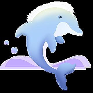 扁平-海洋日元素贴纸-海豚