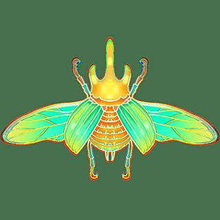 国潮风-昆虫元素贴纸-甲虫