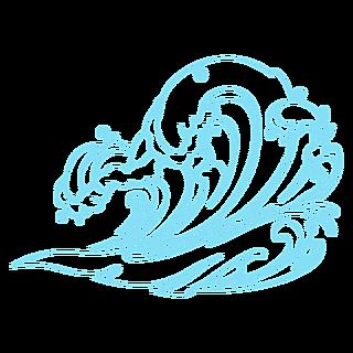手绘-海浪线稿自然元素贴纸1