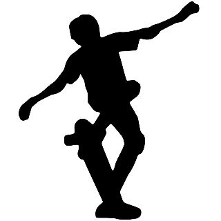 矢量风滑板人物剪影元素贴纸9