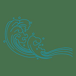 手绘-海浪线稿自然元素贴纸5