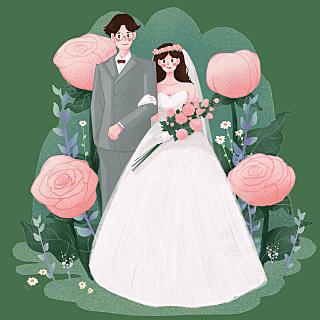 手绘-情人节婚礼大尺寸贴纸-挽手
