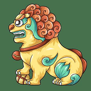 国潮风-石狮子元素