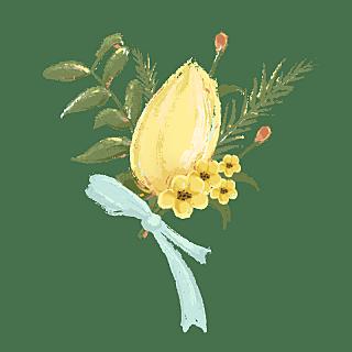 手绘-婚礼油画棒风元素-花束