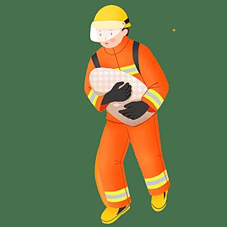 手绘-消防员人物元素贴纸1