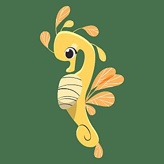 手绘-卡通风海洋动物元素-海马
