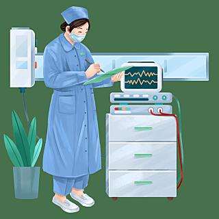 手绘-护士节护士人物元素贴纸1