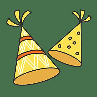手绘-流行色文字贴纸SVG-生日帽