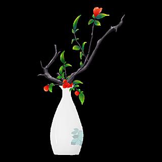 手绘-中国风植物花卉贴纸-花瓶