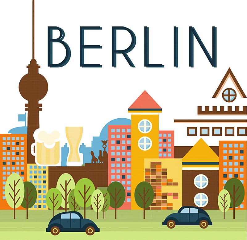 柏林,市区路,城市,小册子,地形,夏天,纸,旅行,旅游