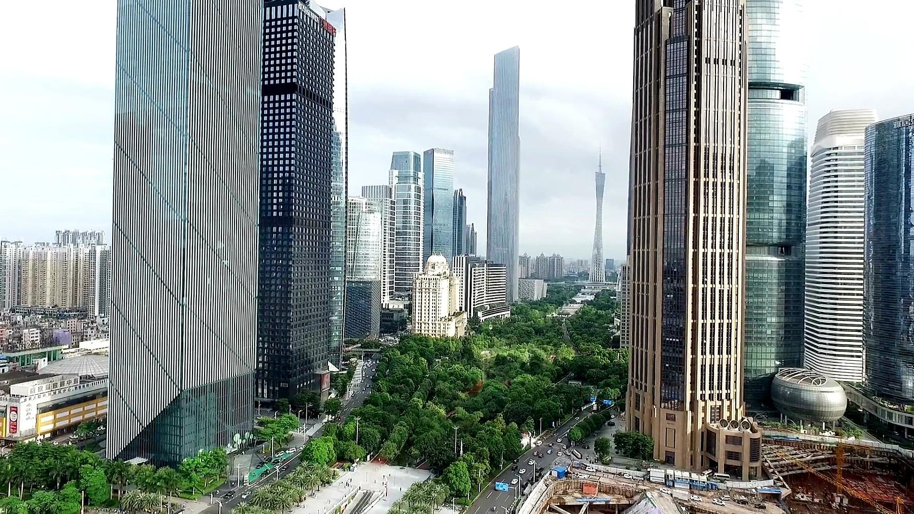 现代城市中心区的现代建筑