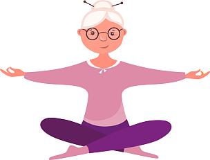 莲花坐式,老年女人,背景分离,运动,位置,中老年人,绘画插图,幸福,瑜伽