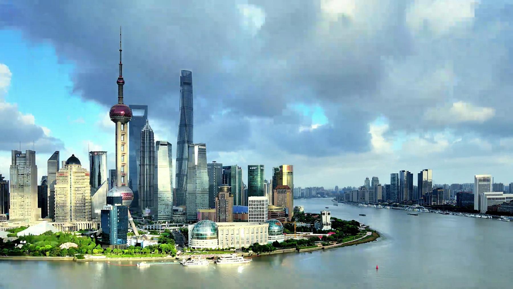 上海城市景观日到日落延时摄影,中国
