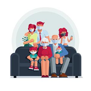 住宅内部,老年男人,家庭,医疗器械,儿童,病毒,日冕形病毒,少女,女孩,男孩