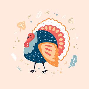 鸟类,火鸡,白昼,可爱的,传统,请柬,事件,贺卡,宴会,传统节日