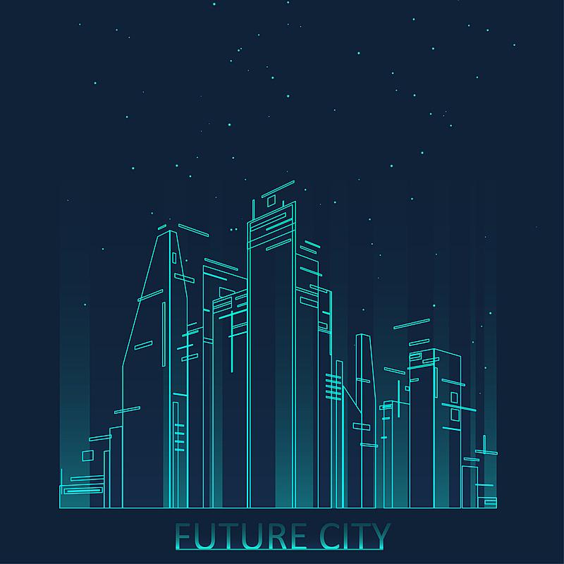 未来,城市天际线,城市,插画,创造力,建筑,抽象,互联网,矢量,建造
