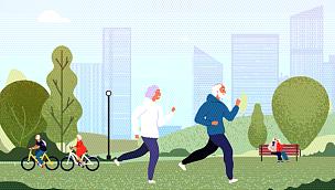 公园,祖父,老年人,幸福,家庭,慢跑,女人,自行车,中老年人,休闲