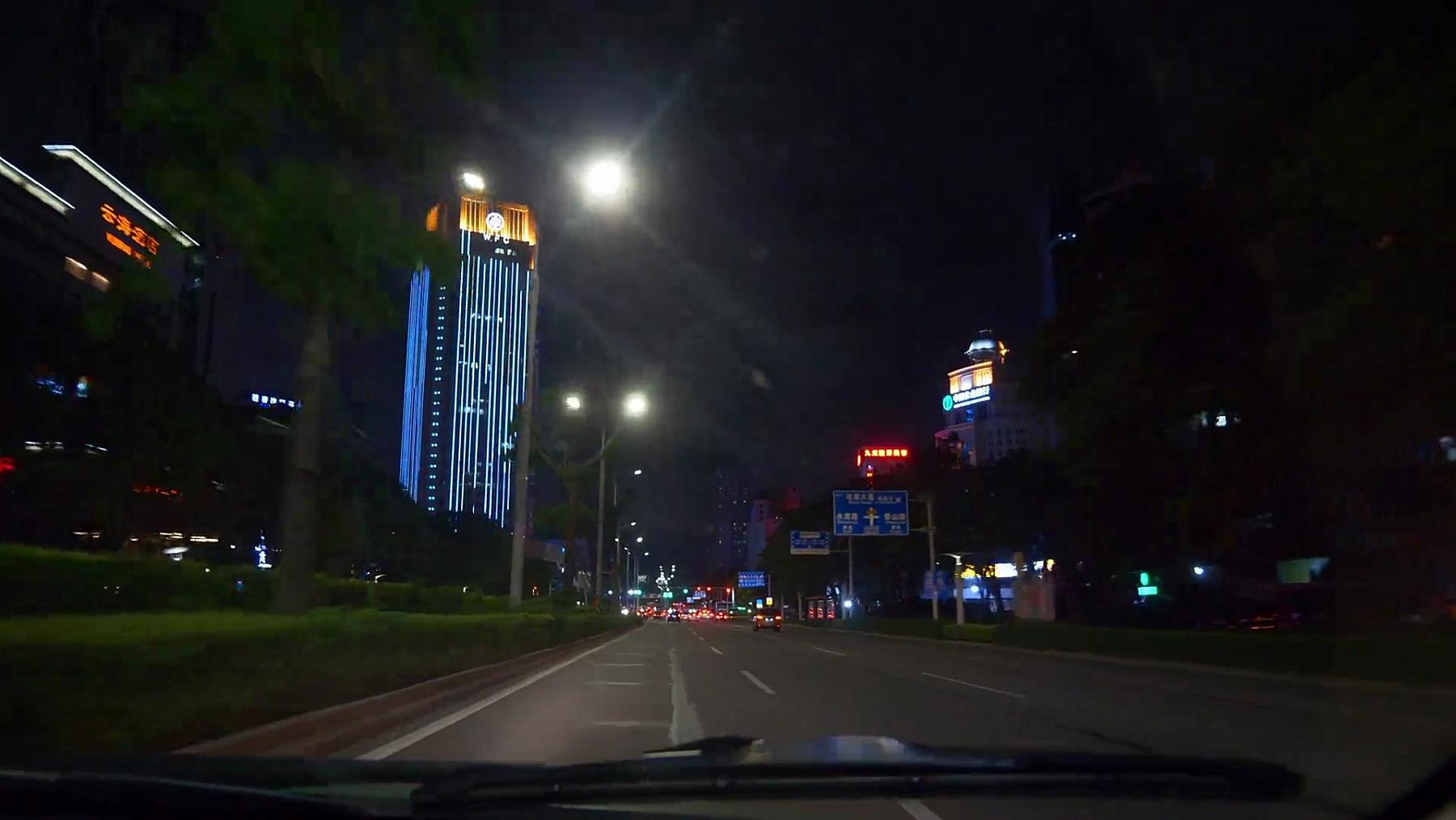 夜间珠海市道路出行pov乘客全景图 中国