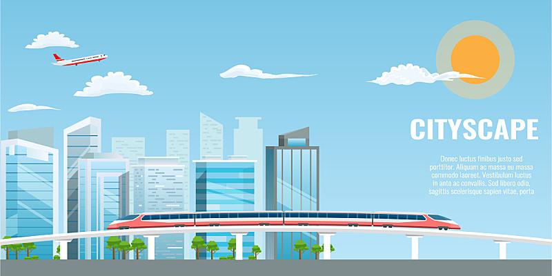 都市风景,长的,酷,巨大的,扁平化设计,城市,迅速,矢量,联系