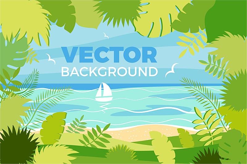 夏天,地形,扁平化设计,春天,度假胜地,海滩,度假,旅行,旅游,休闲