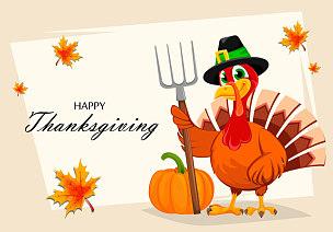 干草叉,火鸡,拿着,传统,蔬菜,十月,请柬,贺卡,传单,翅膀