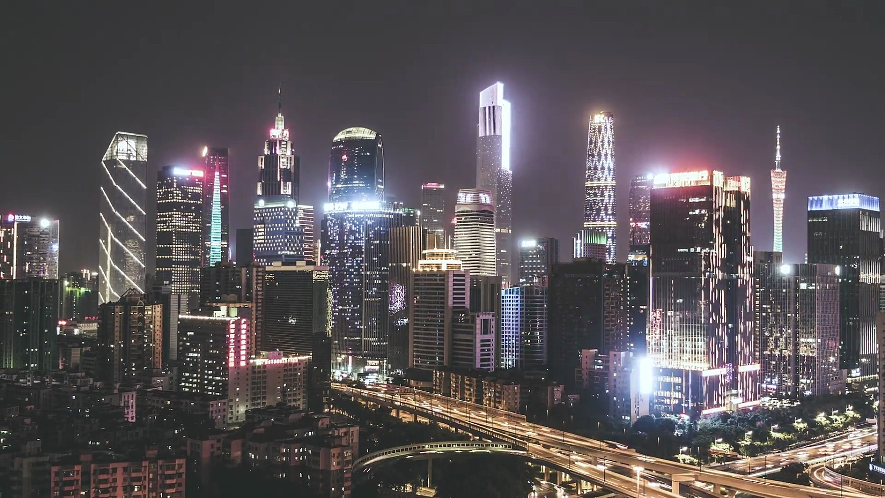 T/L ZO广州Skyline at Night/广东,中国